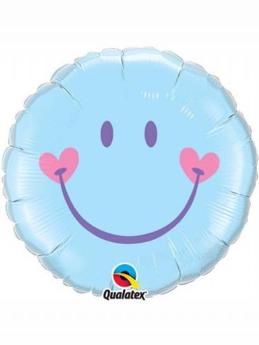Balloon: 18'' Sweet Smile Face Blue Foil Balloon (each) Sold deflated